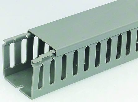 Rs Pro Grey Pvc Open Slot Cable Trunking Slotted Panel