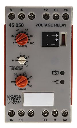Broyce Control Voltage Monitoring Relay with SPDT Contacts, 1 Phase, 110 V ac