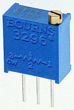 Bourns 3296W Series 25-Turn Through Hole Trimmer Resistor with Pin Terminations, 100Ω ±10% 1/2W ±100ppm/°C
