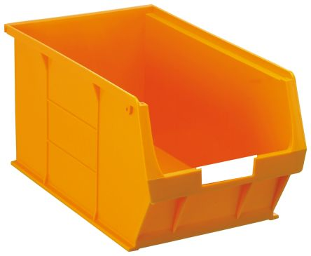 rs pro orange plastic stackable storage bin 181mm x 205mm x 350mm