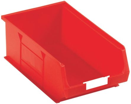 rs pro red plastic stackable storage bin 130mm x 205mm x 350mm