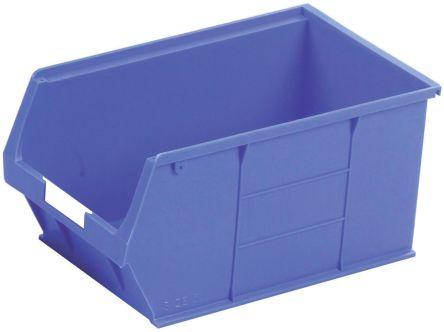 RS Pro Blue Plastic Stackable Storage Bin, 181mm X 205mm X 350mm