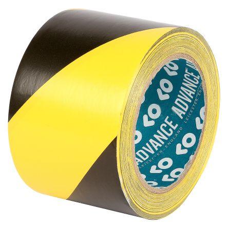 Advance Tapes AT8 Black/Yellow PVC Hazard Tape, 75mm x 33m