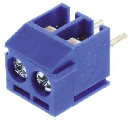 5mm 节距 2 路公 蓝色 直 印刷电路板接线端子块 1776275-2, 通孔