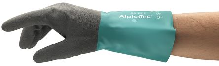 Ansell Alphatec Black, Green Chemical Resistant Nylon Nitrile-Coated Reusable Gloves 8 - S