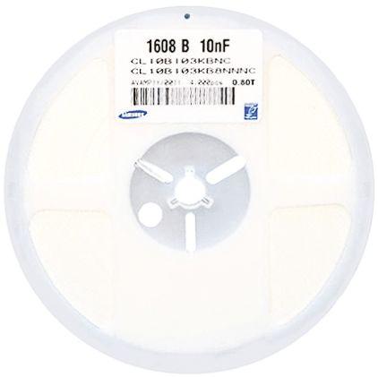 三星 多层陶瓷电容器 (MLCC), CL 系列, 100nF, 50V 直流, 表面安装器件, ±10%容差, 0603 (1608M)封装