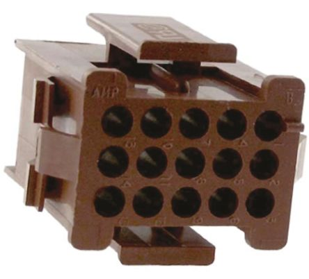 TE Connectivity Miniature Rectangular II Series 4.19mm Pitch 15 Way 5 Row Female Straight Crimp Connector Housing