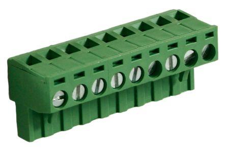rs pro 5mm 节距 9 路母 绿色 直角 插头, 印刷电路板安装, 钳制端接