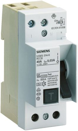 Siemens 1+N Pole Type A Residual Current Circuit Breaker, 16A 5SM3, 10mA