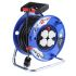 25m Extension Reel Type F - German Schuko,4 Socket ,Unwound Current Rating 16A,230 V,Black, Blue