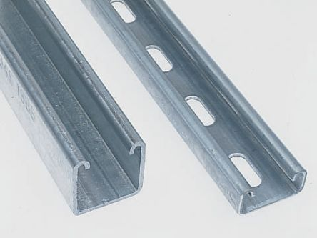 Unistrut 41 x 41mm Single Galvanised Steel Strut, 3m Long