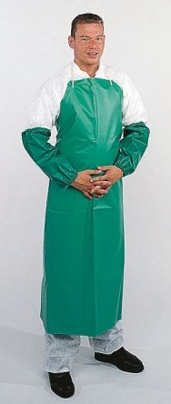 Green PVC/nylon,chemical apron,36x24in