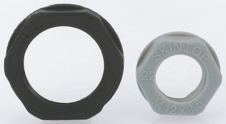 Black Fibreglass PA Cable Gland Locknut, M12 Thread, IP68 product photo