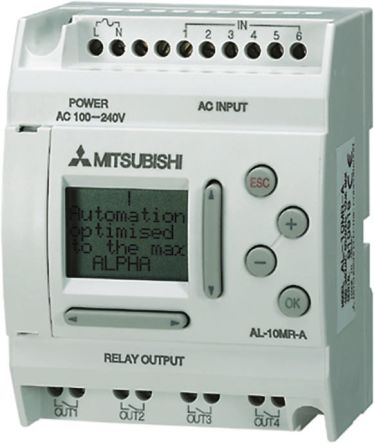 Mitsubishi Logic Module, 100 → 240 V ac Relay, 6 x Input, 4 x Output With  Display