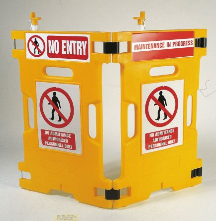 Addgards Yellow No Entry Barrier, Barriers & Stanchion 1.1m x 660mm.