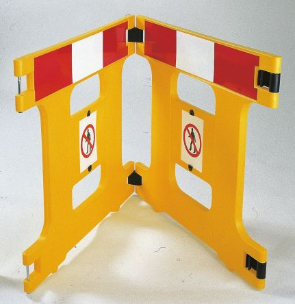Addgards Yellow No Entry Barrier, Barriers & Stanchion, Sign Text No Entry 800mm x 970mm. Kit includes: Hinges