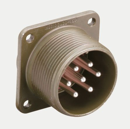 10 Way Box Mount MIL Spec Circular Connector Receptacle, Pin Contacts,Shell Size 18 product photo