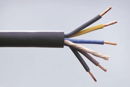 ABB 5 Core 2.5 mm² Mains Power Cable, Black Rubber Sheath 50m, 450/750 V, H07RN-F
