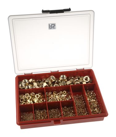 RS PRO 1070 Piece Brass Hex Full Nuts Box
