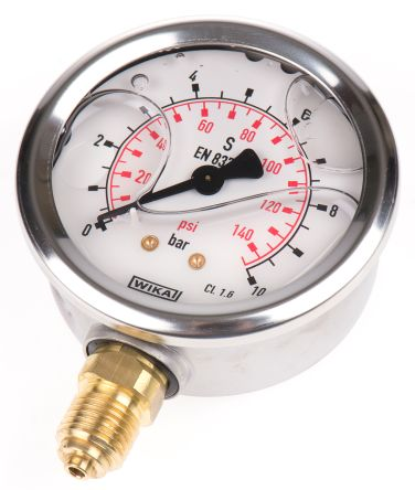 WIKA 9626829 Analogue Positive Pressure Gauge Bottom Entry 10bar, Connection Size G 1/4
