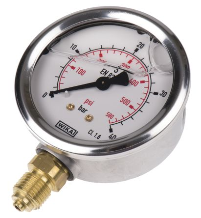 WIKA 9626926 Analogue Positive Pressure Gauge Bottom Entry 40bar, Connection Size G 1/4