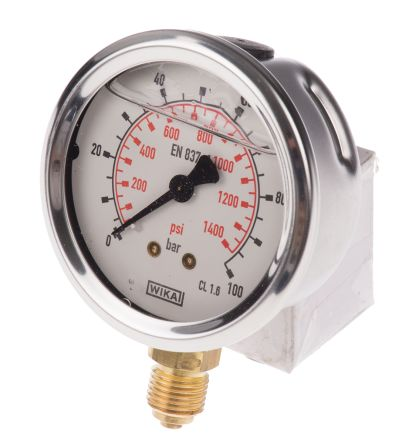 WIKA 9626935 Analogue Positive Pressure Gauge Bottom Entry 100bar, Connection Size G 1/4