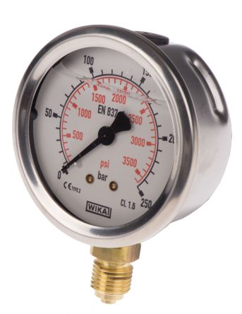 WIKA 9626951 Analogue Positive Pressure Gauge Bottom Entry 250bar, Connection Size G 1/4