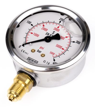 WIKA 9626969 Analogue Positive Pressure Gauge Bottom Entry 400bar, Connection Size G 1/4