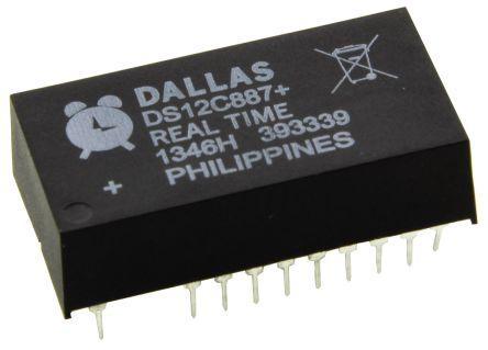 Maxim DS12C887+, Real Time Clock (RTC), 113B RAM Multiplexed, 24-Pin EDIP