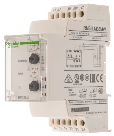Schneider Electric Level Control Relay DIN Rail Mount, 20.4 → 264 V ac/dc Input