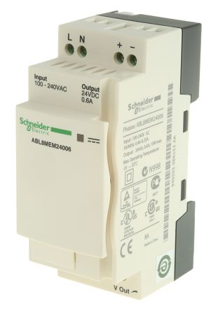Phaseo Switch Mode DIN Rail Panel Mount Power Supply, 15W, 24V dc/ 600mA