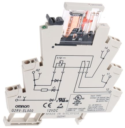 Omron G2RV SPDT Non-Latching Relay DIN Rail, 12V dc Coil, 6A on