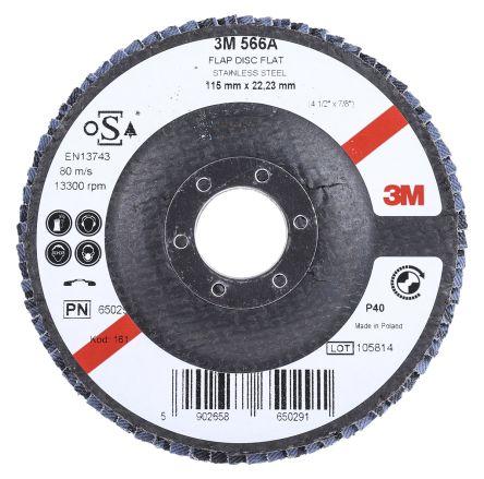 3M 566A Zirconia Aluminium Flap Disc, 115mm, Coarse