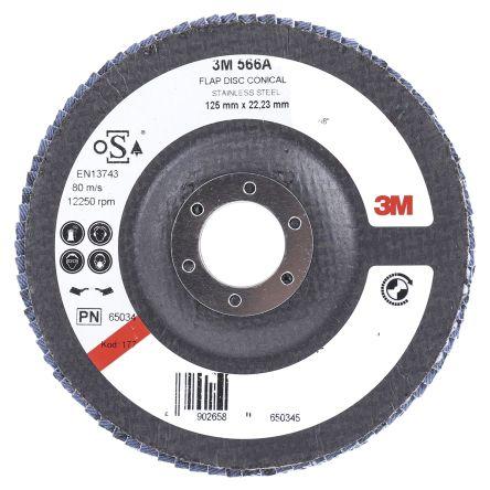 3M 566A Zirconia Aluminium Flap Disc, 125mm, Medium