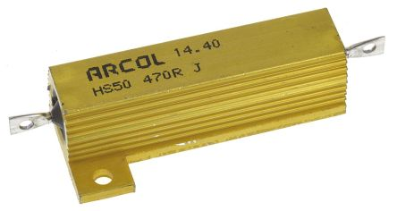 Arcol HS50 Series Aluminium Housed Axial Wire Wound Panel Mount Resistor, 470Ω ±5% 50W