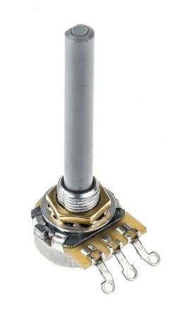 TE Connectivity 1 Gang Rotary Carbon Potentiometer with a 6 35 mm Dia   Shaft, 10kΩ, ±20%, 0 4W, Linear 1623760-2