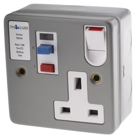 Theben / Timeguard Tripfast 13A, BS Fixing, Active, Single Gang RCD Socket, Steel, Surface Mount , Switched, 230V ac,