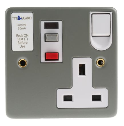 Theben / Timeguard Tripfast 13A, BS Fixing, Passive, Single Gang RCD Socket, Steel, Surface Mount , Switched, 230V ac,