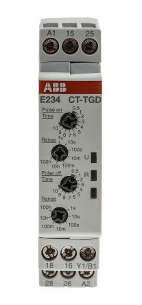 ABB Pulse Generator Single Timer Relay, 0.05 s → 100 h, DPDT, 2 Contacts, on