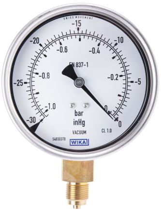 RS PRO Vacuum Gauge, Maximum Pressure Measurement 0bar, Gauge Outside Diameter 100mm, Connection Size BSP G 3/8