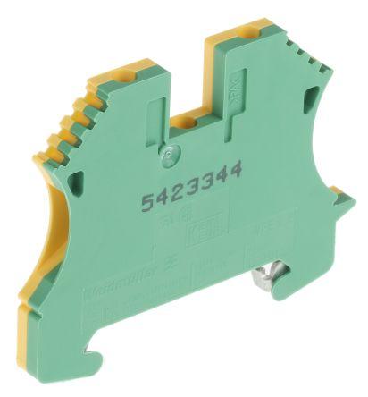 2 Way WPE 2.5 Earth Terminal Block, Screw Down 30 → 12 AWG, 60mm length, Green/Yellow