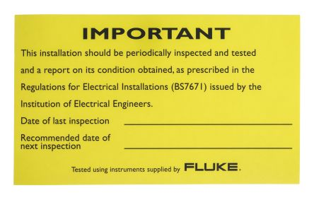Fluke LAB01 Electrical Installation Tester Periodic Inspection Report, Accessory Type Periodic Inspection Report