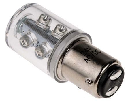 LED Beacon Lamp, Green, BA15d, 24 V ac/dc, 15°View, 6 Chip ...