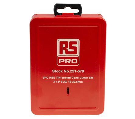 RS PRO HSS 3mm to 30.5mm, 3 piece Metal Sheet Drill Set