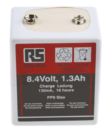 RS PRO 1 3Ah NiCd 9V Rechargeable Battery
