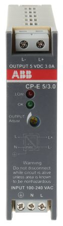 CP-E Switch Mode DIN Rail Panel Mount Power Supply, 15W, 5V dc/ 3A