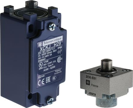 IP66 Snap Action Limit Switch, Plunger, Metal, NO/NC, 600V
