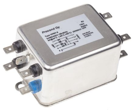 RS KFM Series 6A 420 V ac 400Hz Chassis Mount RFI Filter, with Tab Terminals