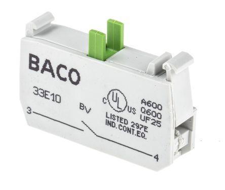 Bloque de contactos BACO 33E10, 1 NA, terminal Roscado
