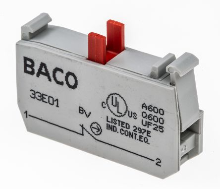 Bloque de contactos BACO 33E01, 1 NC, terminal Roscado